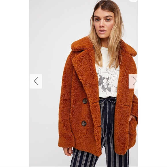 1749fbadce5a NWT Free People Copper Teddy Peacoat
